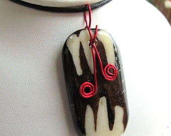 Batiked Bone Plaque Pendant with Wire Accent on Cordage