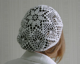 White Cotton Beret Etsy