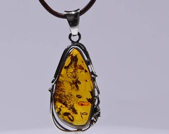 Baltic Amber Pendant Natural Baltic Amber Necklace Amber Jewelry Gemstone Jewelry Baltic Amber Jewelry