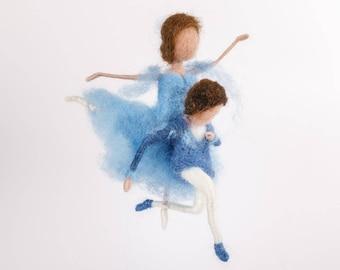 Dancing couple, Ballet, Waldorf, needle felted, Doll
