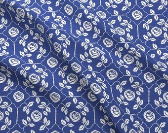 Vintage Rose Damask Fabric - Delft Rose White By Kristopherk - Vintage Cottage Chic Decor Cotton Fabric By The Yard With Spoonflower