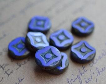 Blue Czech Glass Beads / Rustic 14mm Picasso Daisy Bead / Czech Jewelry Findings