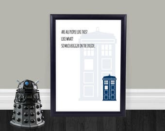 Beautiful Bigger On The Inside   Home Decor   Wall Art   Doctor Who Quote   Physical