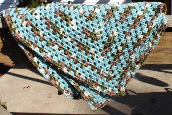 Oma Square Babydecke blau Babydecke häkeln häkeln Baby-Decke