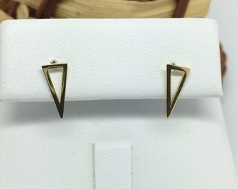 14K Yellow Gold Triangle Shape Stud Earrings