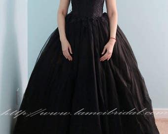 Goth Style Black Lace High Neck Wedding Bridal Dress Ball Gown - YS19188078