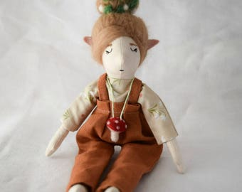 Elf doll, Doll in rusty trousers, Handmade toy, Decoration, Gift idea, Eco friendly toy