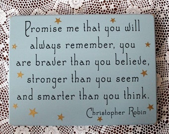 Promise Me You Will Always Remember Wood Sign Nursery Decor, Kid's Room, Wall Decor, Wall Art