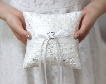 Wedding ring pillow, ring bearer pillow, wedding ceremony ring pillow, wedding ring cushion, sequin lace ring pillow