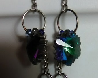 Snowflake Irridescent Glass Dangle Earrings