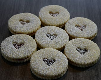 Gluten free All Natural Linzer Cookies with Raspberry Jam, Mother's Day Gift Cookies, Boxed Gifts