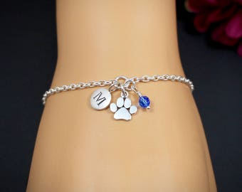 Personalized Paw Print Bracelet, Paw Print Jewelry, Dog Paw Bracelet, Cat Paw Bracelet, Pet Memorial Bracelet, Pet Remembrance Bracelet