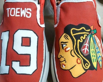 Chicago Blackhawks Hand Painted Shoes