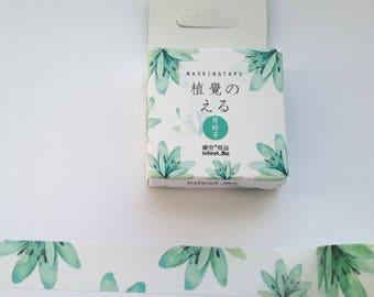 green plant washi tape, washi, tape, 15 mm x 7 m, green washi plant, scrapbooking, journal, stationary, craft supply, MT,