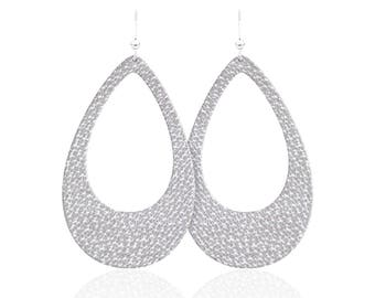 Leather earrings, teardrop cutout white leather earrings, grey leather earrings, statement earrings
