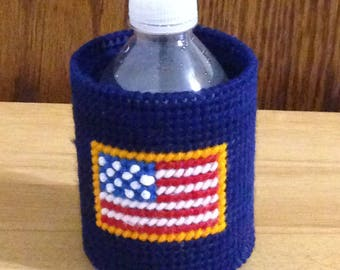 Easter Gift, Can & Bottle Can Cooler, Plastic Canvas, American Flag, Patriotic Gift,  Needlepoint Gift, Gift for Him, beverage insulator