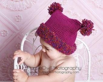 Double Pom Pom Hat Crochet Pattern pdf ,easy to make,5 sizes newborn to adult