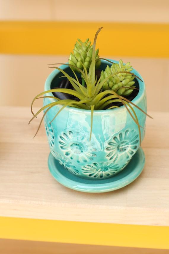 teal  planter // small planter // coastal decor // cactus planter