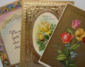 Vintage Pretty Gold Accented Floral Flowers Greeting Cards Lot
