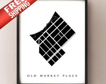 Old Market Place Map - Madison, WI Neighbourhood Art Print