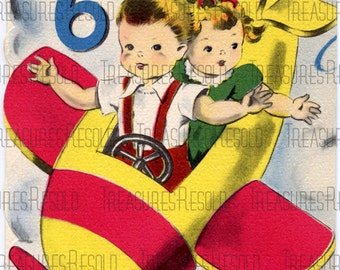 Happy Birthay Six Year Old Airplane Card #326 Digital Download