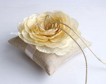 Burlap Wedding ring bearer pillow with light yellow flower ---wedding ring pillow, wedding pillow, ring bearer, ready to shipp