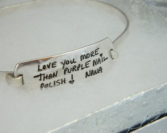 Handwriting Jewelry  Personalized Message Bracelet Signature in Sterling Silver Bracelet