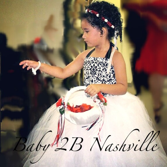 Vintage Damask  Flower Girl Dress, Wedding Flower Girl  Dress, White Dress,Wedding Flower Girl Tutu Dress Baby to Girls 9-10