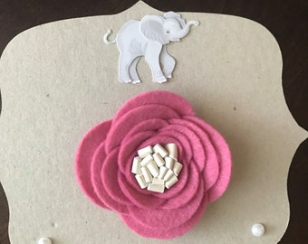 Felt Flower with Faux Leather Center - Photo prop, Baby Shower Gift, Accessory, Baby Accessory, Handmade Flower, Hair Clip,