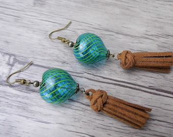 Tassel Earrings Heart Earrings Suede Tassel Earrings Bead Dangle Earrings Long Earrings Blue Bead Earrings Drop Bohemian Earrings ED-011