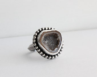 Drusy Statement Ring with Thick Triangle Band, One of a kind, Natural stone ring, Metalsmithed, Bold Jewelry Boho Jewelry