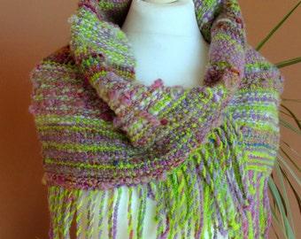 Handwoven cowl Infinity scarf Saori weaving  Handspun handwoven Art yarn Designer scarf Natural wool scarf Textile art