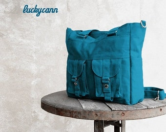 Mother s Day Big Sale BAILEY // Teal / Lined with Dark grey / 024 // Ship in 3 days // Messenger / Diaper bag / Shoulder bag / Tote bag / Pu