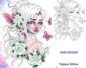 Gardenia - Fantasy Coloring Sheet Digi Stamp Adult Coloring Girl. Portrait Butterfly Gardenie Bird Zentangle Flowers Instant Download!
