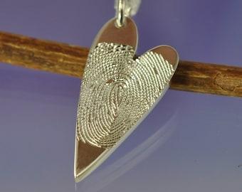 9k Gold (red, white or yellow) Fingerprint heart pendant. Your finger print hand engraved onto a 9k pendant.