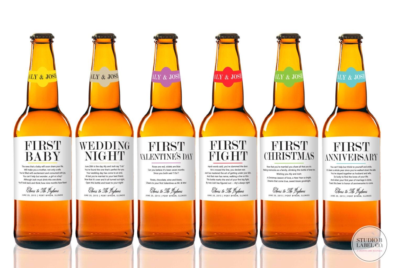 Wedding Milestone Labels Beer Labels Unique Wedding Gift