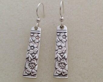 Silver Flower Dangle Earrings Venetian Garden Vintage Silverplate Spoon Jewelry