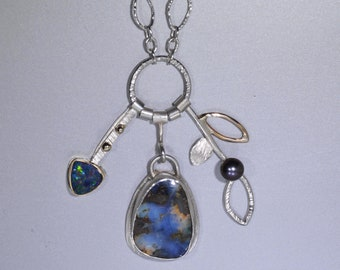 Boulder Opal Necklace in Silver and Gold, Blue Australian Opal Multi Stone Necklace, Statement Necklace with Opal and Long Chain