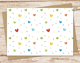 notecard set . blank note cards . hearts . folded stationery . colorful heart stationary . rainbow . set of 6