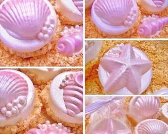 "Chocolate Covered Oreo Cookies Edible Seashells On A ""Sandy"" Beach Wedding Favor ~ Under The Sea Cookie ~ Custom Cookies Mermaid Party Favor"