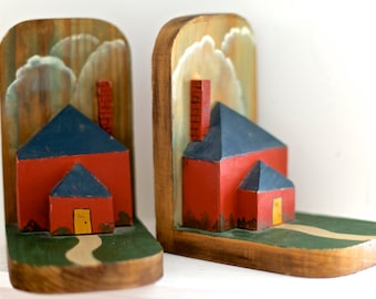 SALE! Wood Painted Bookends - Rustic Hand Painted Wood