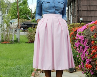 Light Pink Midi Skirt With Pockets- available in 12 colors