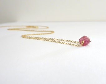 Raw Tourmaline Necklace, Crystal Necklace, 14k Gold fill, Sterling Silver, Rose gold fill