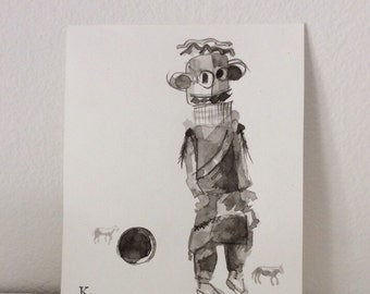 Kachina with Rubber Ball and Mini Ponies original drawing brush and ink by Melanie Knox