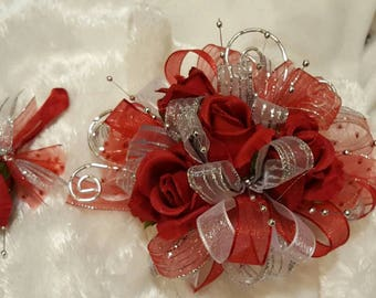 Made to order Red and silver wrist prom corsage set silk rose prom corsage set