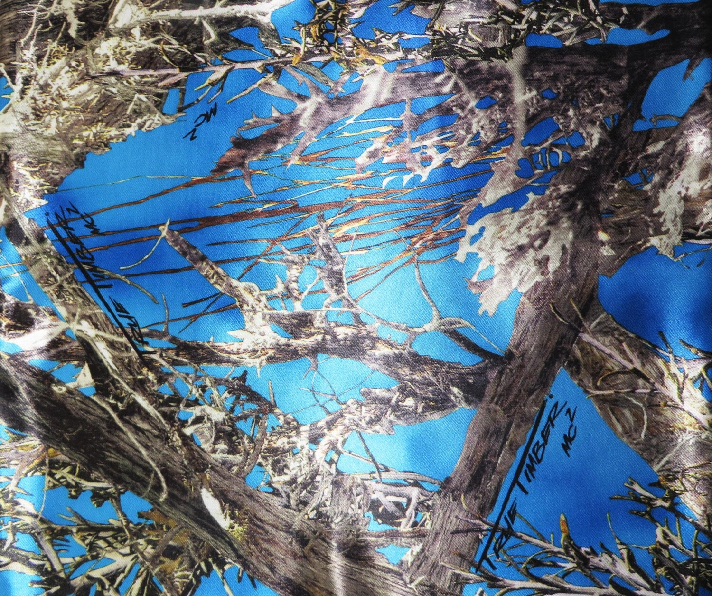 Blue True Timber Camo Bridal Satin Fabric Camo Fabric Bridal