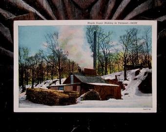 Maple Sugar Making in Vermont Linen Postcard - C.W. Hughes 1933 - Unused