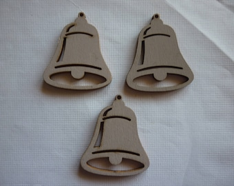 Embellishment wooden trio of grey Bell, sold in set 3.