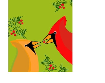 greeting card collection winter cardinals with pine