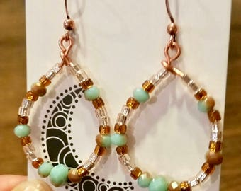 Copper Hoop Earrings, with faceted Turquoise glass beads, Southwestern brown and silver glass accents